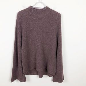 In Cashmere Brown Flare Sleeve Cashmere Sweater